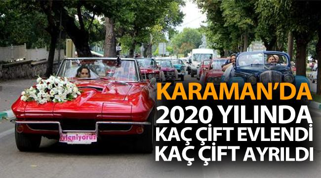Karaman'ın 2020 yılı evlenme boşanma istatistiği