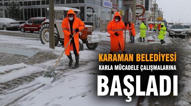 Karaman Belediyesi Karla Mücadele Çalışmalarına Başladı